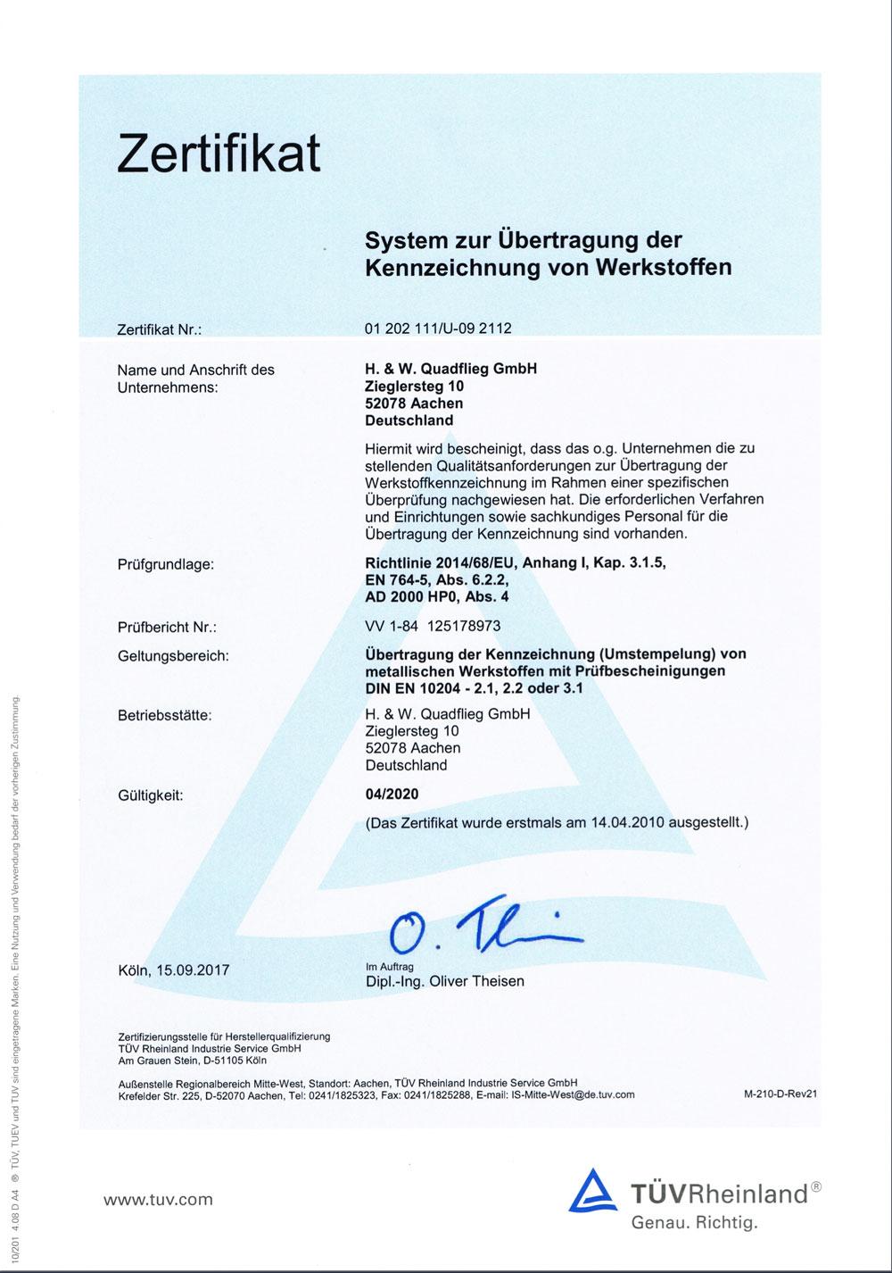 Zertifikat Kennzeichnung Werkstoffe